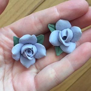 Lavender Purple Ceramic Rose Earrings Vintage 90's